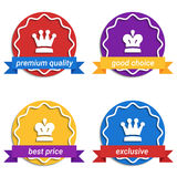 Set of colorful round badges. Sale, discount theme Stock Photo
