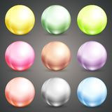 Set of colorful round baubles or balls Royalty Free Stock Photos