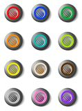 Set of colorful round buttons with grille Royalty Free Stock Images
