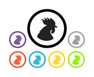 Set of colorful round icons of cocks Royalty Free Stock Photography