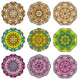 Set of 9 colorful round ornaments Stock Photography