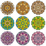 Set of 9 colorful round ornaments Royalty Free Stock Images