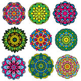 Set of 9 colorful round ornaments, kaleidoscope floral Stock Photo