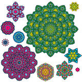Set of 10 colorful round ornaments, kaleidoscope floral patterns Royalty Free Stock Photos