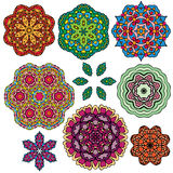 Set of 9 colorful round ornaments, kaleidoscope floral patterns. Royalty Free Stock Photo