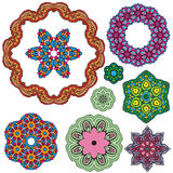 Set of 9 colorful round ornaments, kaleidoscope floral patterns. Royalty Free Stock Image