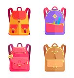 Set of Colorful Rucksacks for Girls or Boys Vector Stock Images