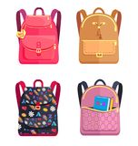 Set of Colorful Rucksacks for Girls or Boys Vector Royalty Free Stock Image