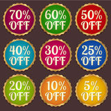 Set: Colorful Sale banners, labels, discount tag royalty free stock image