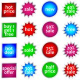 Set of colorful sale stickers Stock Photography
