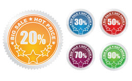 Set of colorful sale stickers Royalty Free Stock Image