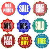 Set colorful  sale stickers and labels Royalty Free Stock Photography