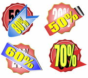 Set of colorful sale stickers and labels Royalty Free Stock Images