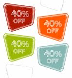Set of colorful sale stickers, labels, tags with 40% off. stock illustration