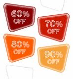 Set of colorful sale stickers, labels, tags with 60%, 70%, 80% and 10% off. Bright design for stickers, web page ad, tickets, discount offer price labels stock illustration
