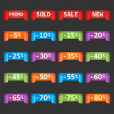 Set of colorful sale tag labels. Discount up to 5 - 80 percent. Shopping vector illustration on black background Royalty Free Illustration