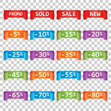 Set of colorful sale tag labels. Discount up to 5 - 80 percent. Royalty Free Stock Photos