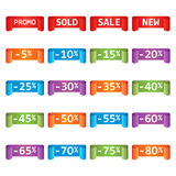 Set of colorful sale tag labels. Discount up to 5 - 80 percent. Shopping vector illustration on white background Stock Images