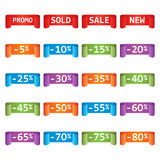 Set of colorful sale tag labels. Discount up to 5 - 80 percent. Shopping vector illustration on white background Royalty Free Stock Image