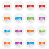 Set of colorful sale tag labels. Discount up to 5 - 80 percent. Shopping vector illustration on white background with long shadow Stock Photos