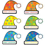 Set of colorful Santa Claus hat Royalty Free Stock Photos