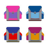 Set of colorful school rucksacks. Royalty Free Stock Photo