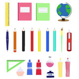 Set of colorful school supplies in flat style. Royalty Free Stock Photos