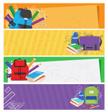 Set of colorful schoolbags banner Stock Photo