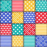 Set of 16 colorful seamless. Bright colorful seamless pattern as patchwork quilt with white flowers, stripes, hearts and dots on the green, red, yellow and blue stock illustration