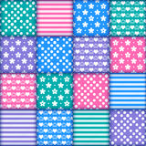 Set of 16 colorful seamless. Bright colorful seamless pattern as patchwork quilt with white flowers, stripes, hearts and dots on the violet, green, blue and pink stock illustration