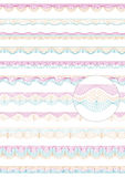 Set of colorful seamless guilloche vector borders. For money design, voucher, currency, gift certificate, coupon, banknote, diploma, check and note royalty free illustration