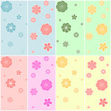 Set of colorful seamless pattern. Set of vector colorful seamless pattern - abstract flowers for your design Royalty Free Stock Photography