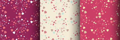 Set of colorful seamless patterns with hearts Royalty Free Stock Image