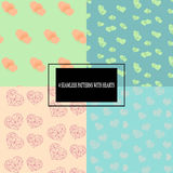 Set of colorful seamless patterns with hearts Stock Image