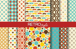 Set of colorful seamless retro vector patterns Royalty Free Stock Images