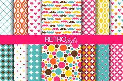 Set of colorful seamless retro vector patterns. Set of colorful geometric seamless retro vector patterns. Endless texture can be used for wallpaper, pattern Stock Illustration