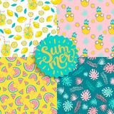 Set of Colorful seamless summer patterns. Set of Colorful seamless summer patterns with hand drawn elements such as sunglasses, watermelon, tropical leaves stock illustration