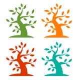 Set of Colorful Season Tree Bold icons. Vector illustration royalty free illustration