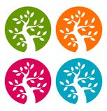 Set of Colorful Season Tree Bold icons Stock Photography