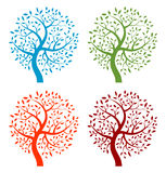 Set of Colorful Season Tree icons Stock Photos