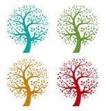 Set of Colorful Season Tree icons Royalty Free Stock Images