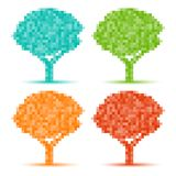Set of Colorful Season Tree pixel icons Royalty Free Stock Image