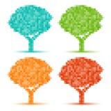 Set of Colorful Season Tree pixel icons. Vector illustration royalty free illustration