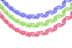 Set of colorful serpentine streamers isolated on white Stock Photos