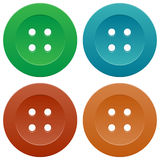 Set of Colorful Sewing Buttons. Group of Bright Colorful Sewing Buttons on White Background Stock Illustration