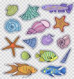 Colorful shells and fishes Stock Images