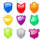 Set of colorful shield icons. Isolated on white Royalty Free Stock Photography
