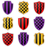 Set of colorful shield icons on a white background. Royalty Free Stock Images