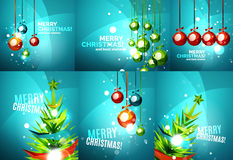 Set of colorful shiny Chrismas cards Royalty Free Stock Photography