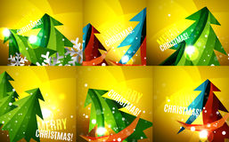 Set of colorful shiny Chrismas cards Stock Photos